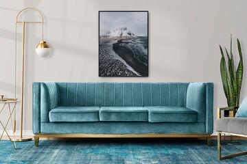 Obraz Chic modern luxury aesthetics style living room in blue tone - fototapety do salonu