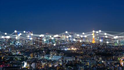 Obraz 東京の夜景 デジタル ネットワーク - fototapety do salonu