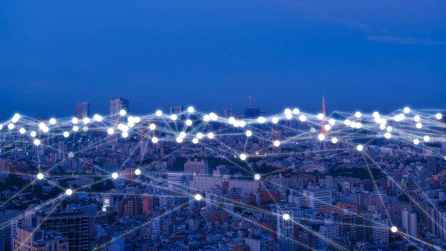 東京の夜景 デジタル ネットワーク