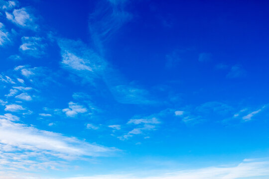 white fluffy clouds on a deep blue sky. sunny weather conditions