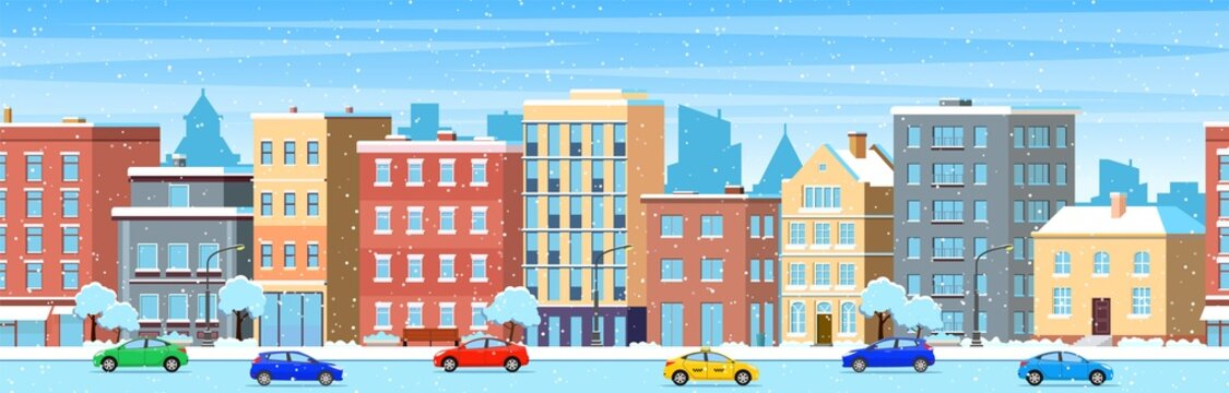 city building houses winter street cityscape