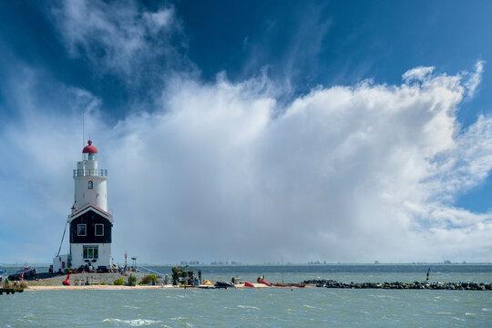 Lighthouse former Island Marken, Noord-Holland province, The Netehrlands