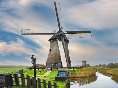 Museum mill with Bovenmolen E in Schermerhorn, Noord-Holland Province, The Netherlands in the background