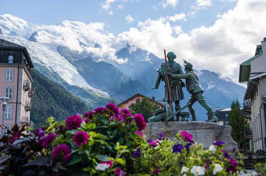 CHAMONIX - FRANCE, September 17, 2021: Statue of Jacques Balmat & Horace-Benedict de Saussure in the town center