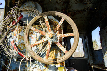 The wheel of an old steam tank locomotive