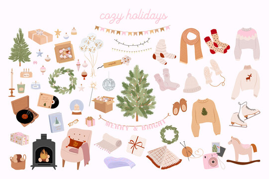 Collection of Holidays elements and cozy hygge home decor. Perfect for Merry Christmas, Happy New Year, holidays, invitation and greeting card. Editable vector illustration.