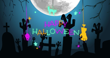 Image of halloween greetings over cemetery with full moon and night in background