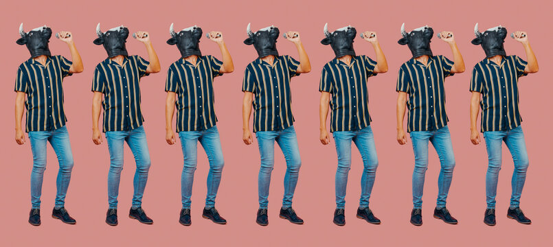men with cow masks using microphones, web banner