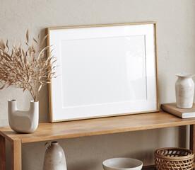 Obraz Mockup frame close up in living room interior background, 3d render - fototapety do salonu