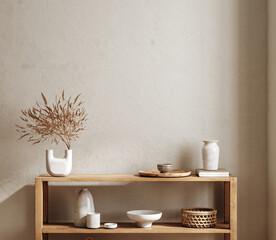 Obraz Blank wall mockup in living room interior background, 3d render - fototapety do salonu