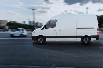 Obraz Transportation service with a white van moving fast on the road - fototapety do salonu