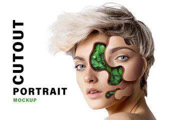 Obraz Portrait Cutout Effect Mockup - fototapety do salonu