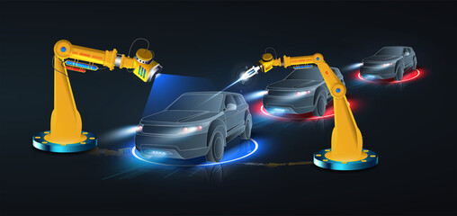 Obraz Robotic arm and robotic tool repairing a car in blue background.  Vehicle production process with innovative equipment. Industrial robotic welders will weld the car body on the assembly line. - fototapety do salonu