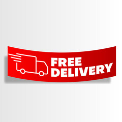 Obraz realistic red free delivery icon with paper style - fototapety do salonu