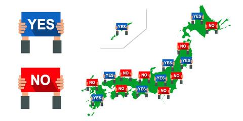 Obraz 選挙の日本地図, 賛成反対マップのベクターイラスト素材 - fototapety do salonu