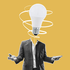 Obraz Modern design, contemporary art collage. Inspiration, idea, trendy urban magazine style. Man in business suit with electric bulb instead head - fototapety do salonu