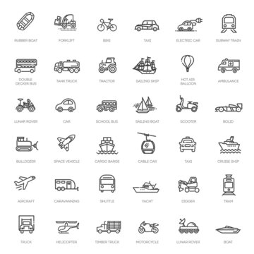 Transport, vehicle and delivery elements - minimal thin line web icon set