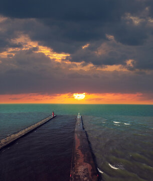 Aerial view of Sunset on Lake Michigan