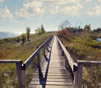 Wooden Walkway along Lake Huron, Michigan