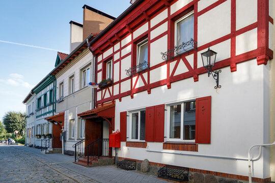 The restored facades of the Zheleznodorozhny town, Kaliningrad region