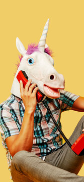 unicorn on the phone, in mobile stories format