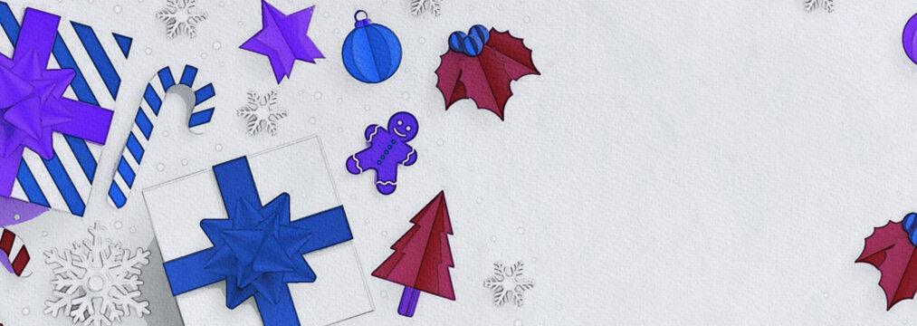 Illustration bandeau entête  site web, slider noël