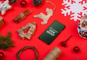 Obraz Christmas Phone with Decorations Mockup - fototapety do salonu