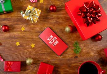 Obraz Christmas Smartphone Screen Mockup - fototapety do salonu