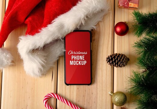 Christmas Phone with Decorations Mockup
