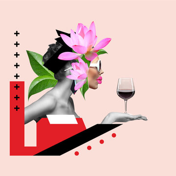Collage d'Art, l'alcoolisme féminin