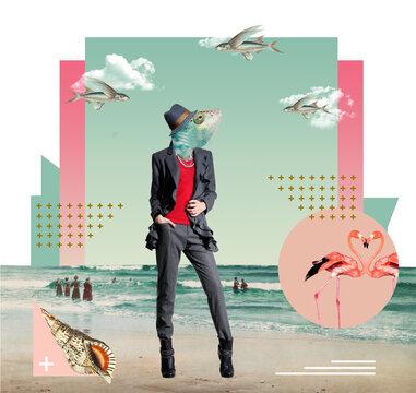 Collage d'Art, océan source de vie