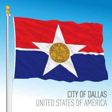 City of Dallas flag, Texas, United States, vector illustration