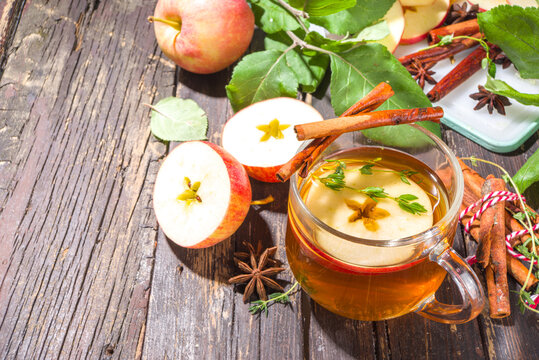Apple tea with cinnamon and thyme