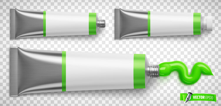 Vector realistic illustration of green paint tubes on a transparent background.