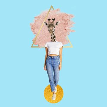 Collage d'Art, femme à tête de girafe
