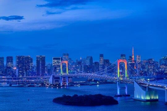 東京 夜景 お台場 レインボーブリッジ