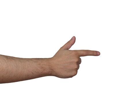 Hand pose finger gun isolated white background