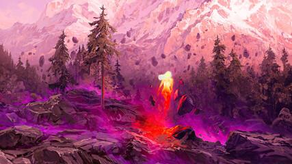 Fantasy nature mountain scenery digital art 3d illustration.