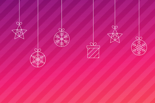 Minimal Christmas background. Outline drawings of hanging decorative elements.