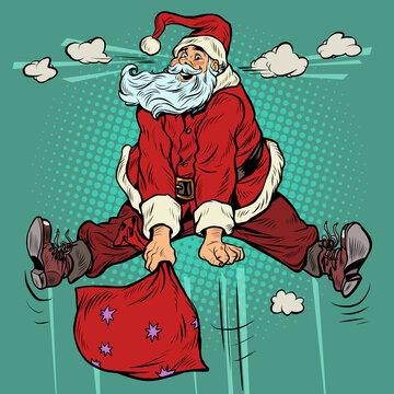 joyful Santa Claus jumps up, excess of emotions cartoon jump. Christmas holidays