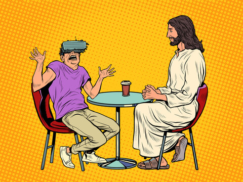 A young man in virtual reality glasses and Jesus next to him. Religion and virtual life