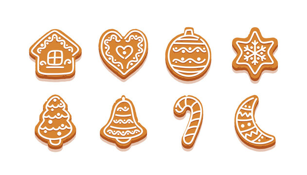 Gingerbread Cookies, Cartoon Sweets in Shape of Star, Christmas Tree and Heart, Ginger House, Bell, Candy Cane and Moon