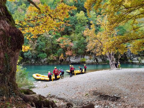 voidomatis river in aristi village trees rafting boats in autumn season