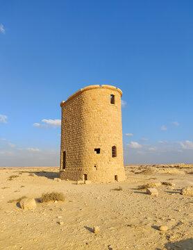 Watertower near the Ottoman railway station. Nitzana. Negev desert in Israel