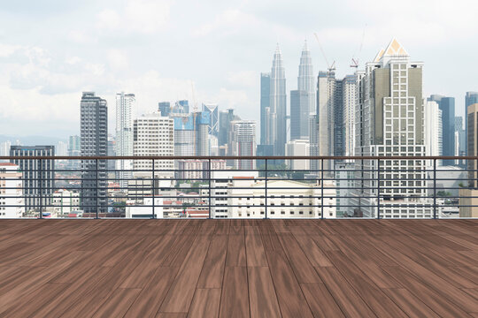 Panoramic Kuala Lumpur skyline view, wooden observatory deck on rooftop, daytime. Asian corporate and residential lifestyle. Financial city downtown, real estate. Product display mockup empty roof