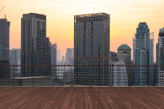 Panoramic Bangkok skyline view, wooden observatory deck on rooftop, sunset. Luxury Asian corporate and residential lifestyle. Financial city downtown, real estate. Product display mockup empty roof