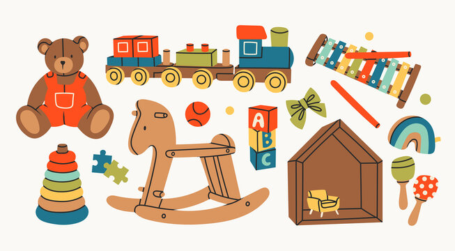 Various Toys for kids. Wooden train, rocking horse, teddy bear, toy cubes, xylophone, pyramid, doll house. Childhood, children games, preschool activities concept. Hand drawn Vector set