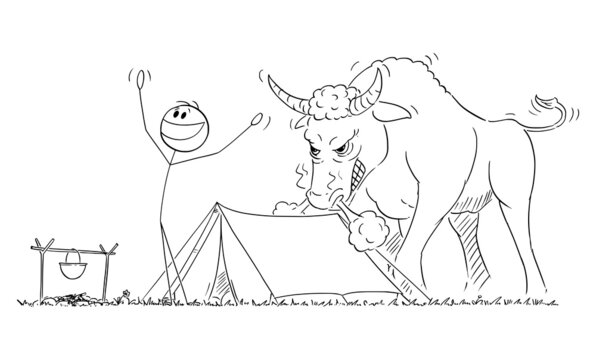 Happy Person Enjoying Morning Near Tent , Angry Bull in Behind Him , Vector Cartoon Stick Figure Illustration