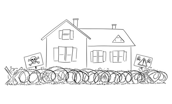 Fortified Family House, Home, Crime and Security Concept , Vector Cartoon Illustration