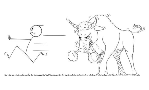 Person or Businessman Running Away in Panic from Dangerous Angry Bull, Financial Market Concept, Vector Cartoon Stick Figure Illustration